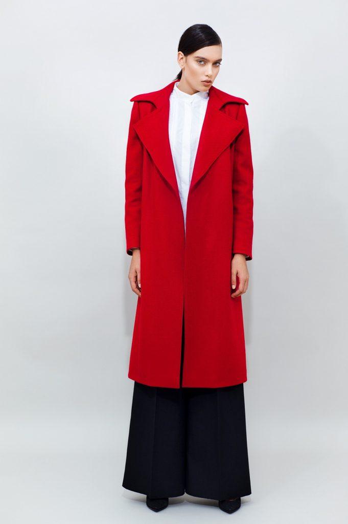 Belted Wool Coat Long Wide Leg Pants