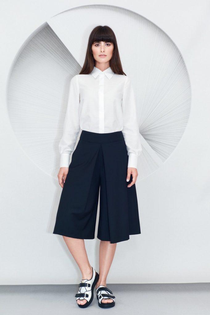 Pleated Culottes Minimalist Shirt