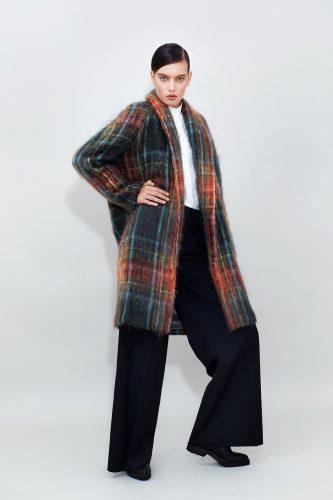 Belted Mohair Coat Long Wide Leg Pants
