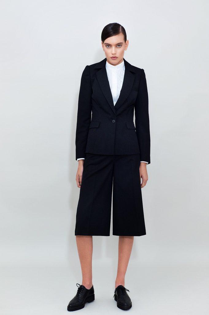Wool Blend Blazer Cropped Wide Leg Pants