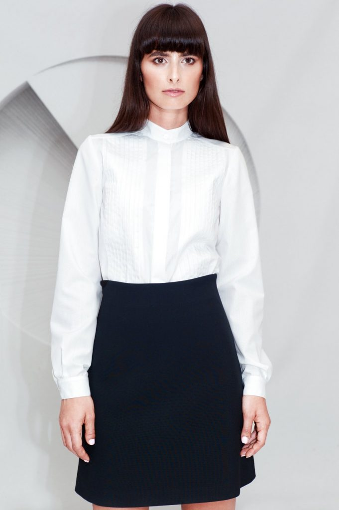 Cotton Pleated Shirt Mini A-line Skirt
