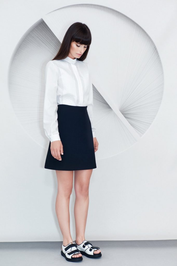 Cotton Pleated Shirt Mini A-line Skirt