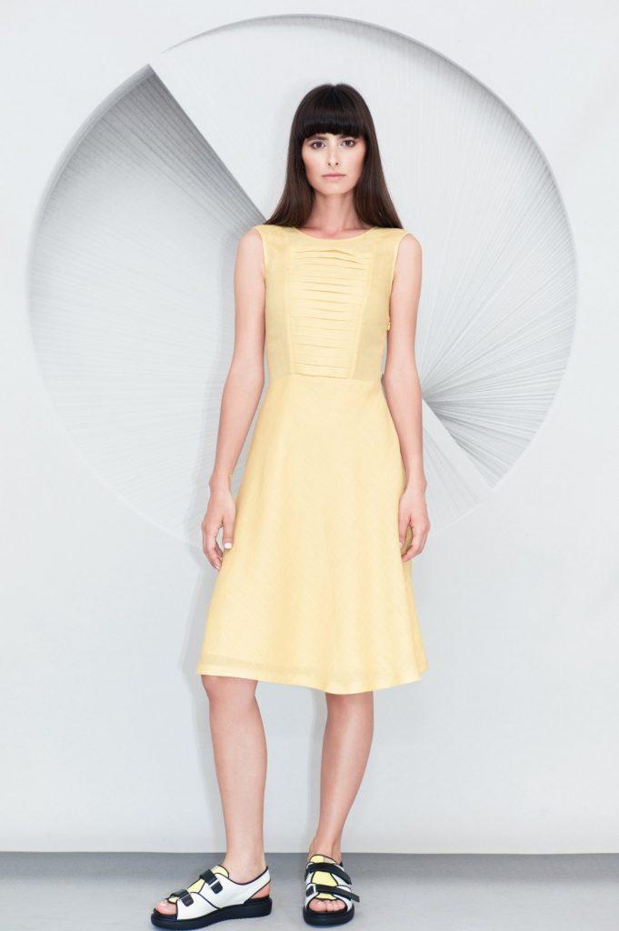 Pleated Panel Midi Dress