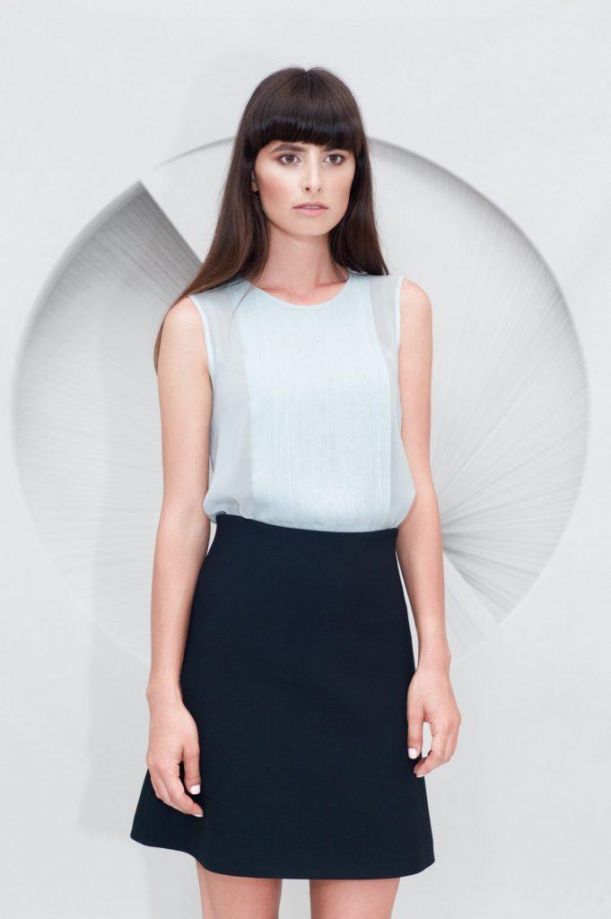 Pleated Top Mini A-line Skirt