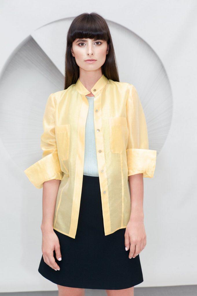 Cotton Silk Blend Shirt Pleated Top Mini A-line Skirt