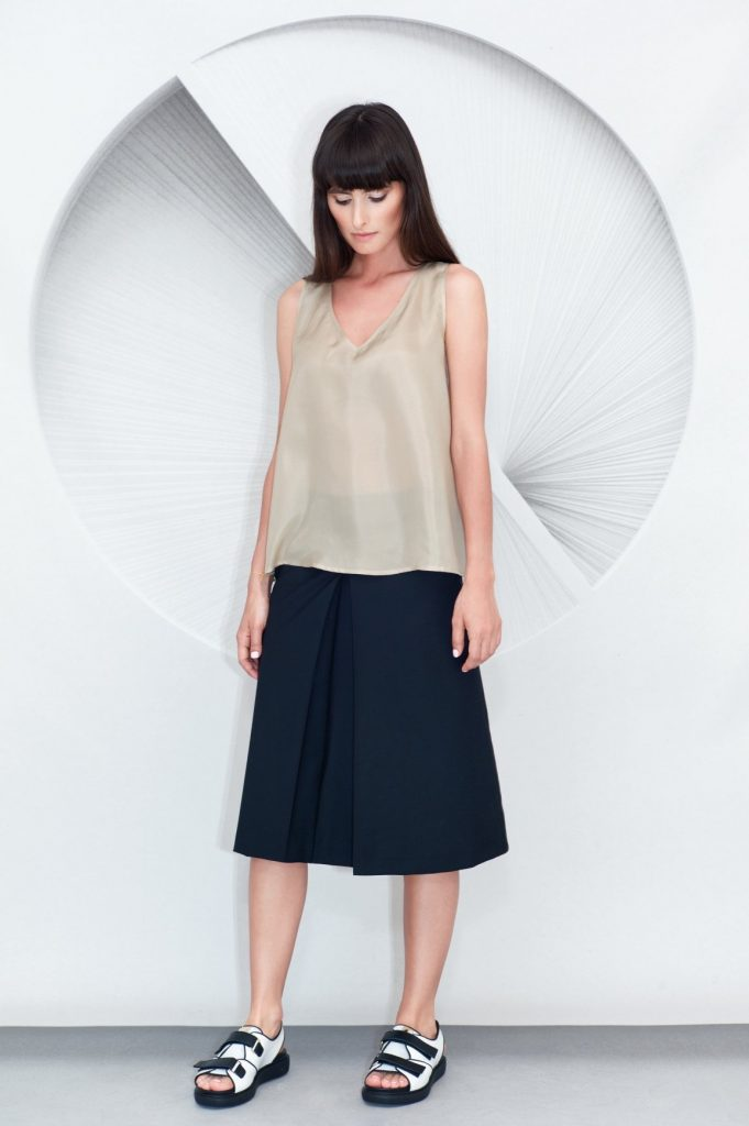 Pleated Culottes Silk Top
