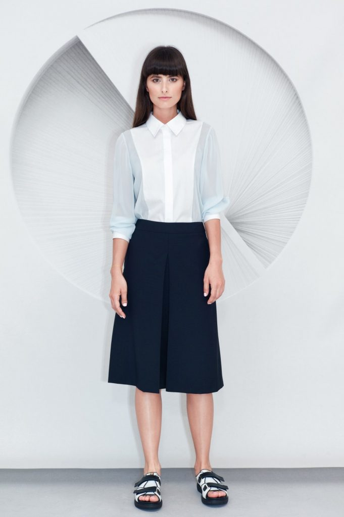 Cotton Viscose Shirt Inverted Front Pleat Midi Skirt