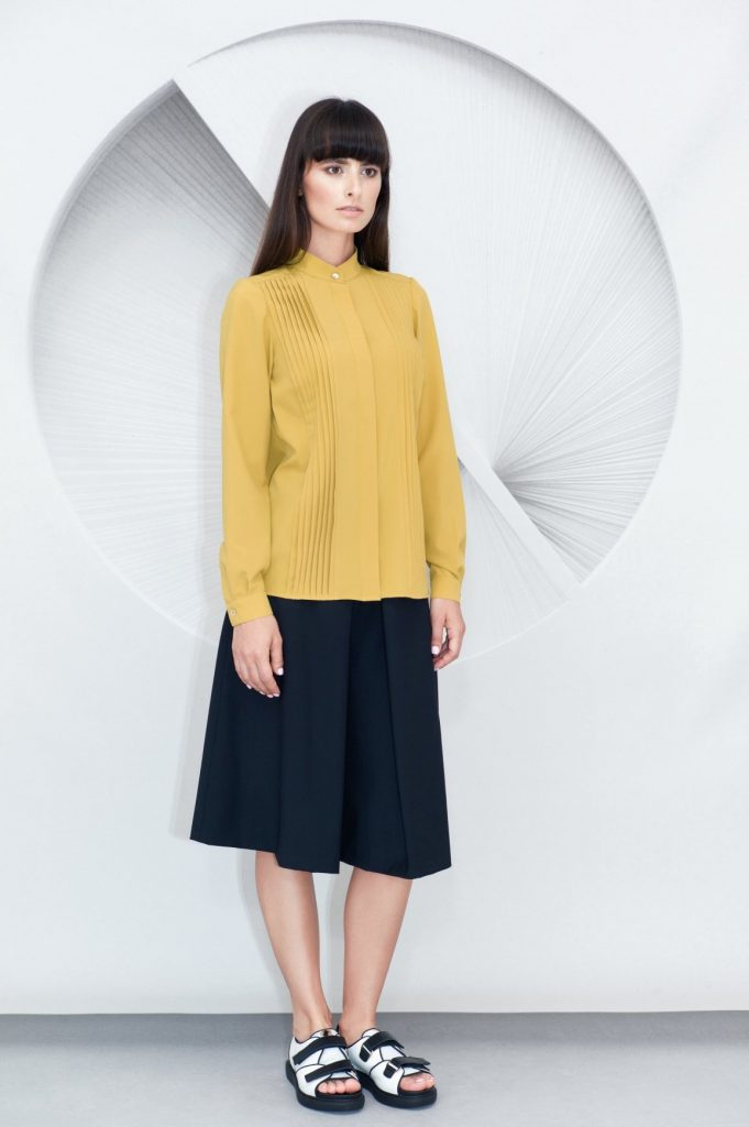 Olive Pleated Shirt Pleated Culottes