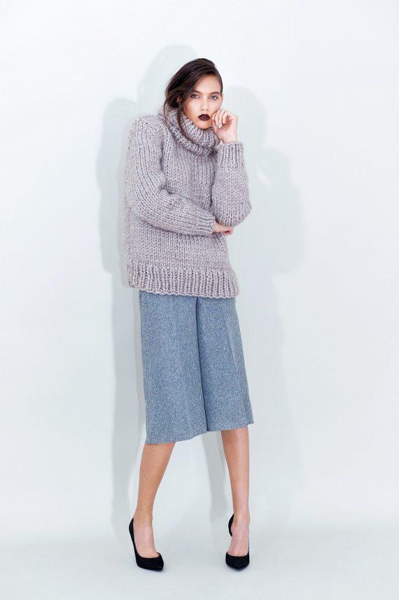 Grey Cropped Pants Turtleneck Sweater Grey Cropped Pants