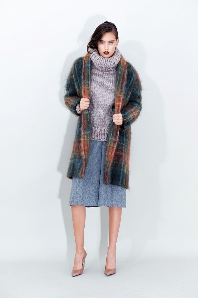 Belted Mohair Coat Turtleneck Sweater Grey Cropped Pants