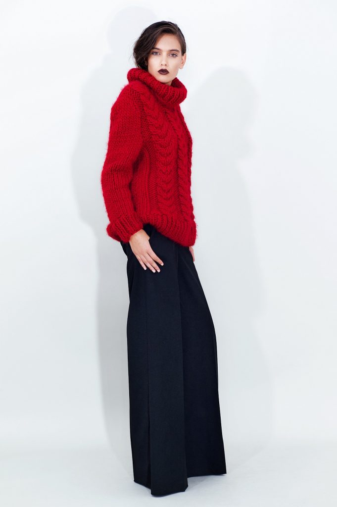 Cable Knit Wool Sweater Long Wide Leg Pants