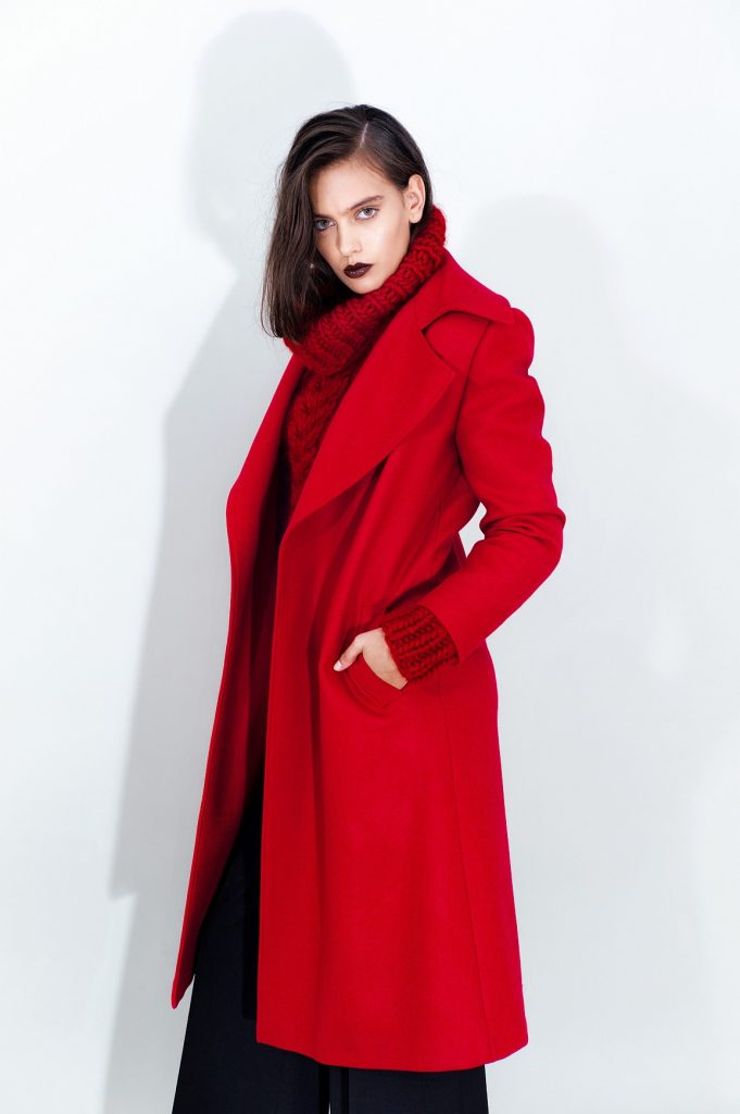 Belted Wool Coat Cable Knit Wool Sweater Long Wide Leg Pants