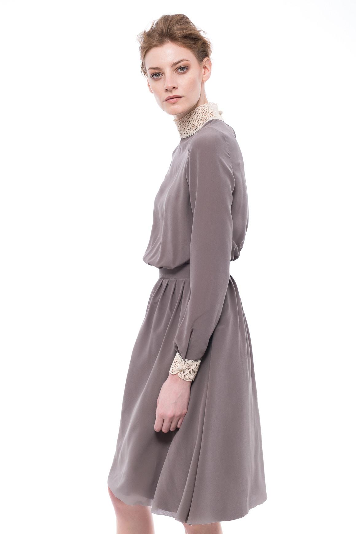 Stand Collar Dress Designs : Stand up collar silk dress chemistry studio
