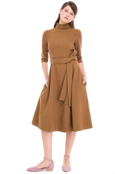 Wool Blend Midi Dress