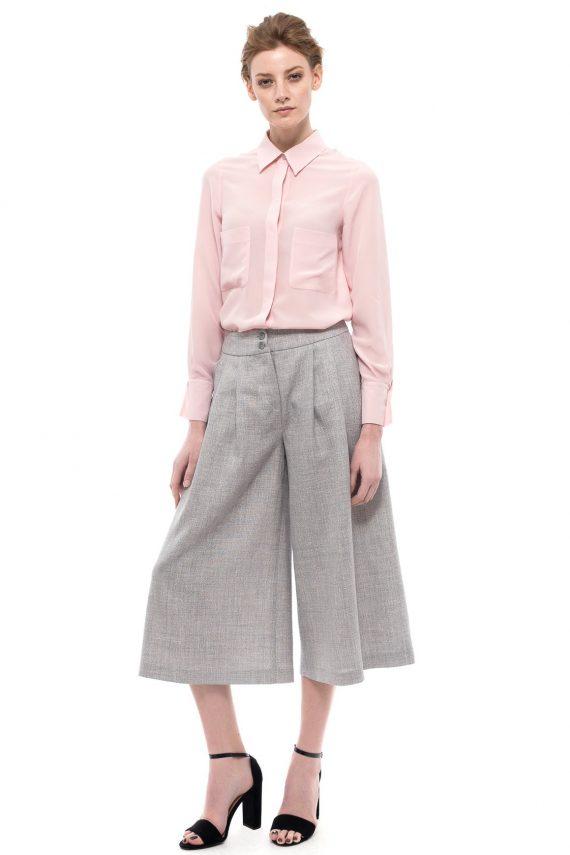 Wide Leg Midi Pants Pink Silk Shirt