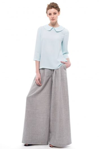Peter Pan Collar Blouse Grey Palazzo Pants