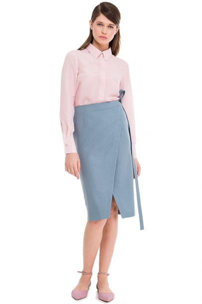Silk Shirt Wool Wrap Skirt