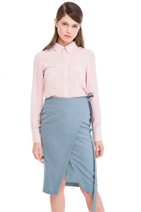 Silk Shirt Wool Wrap Skirt