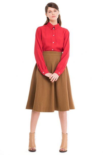 Wool Blend Midi Skirt