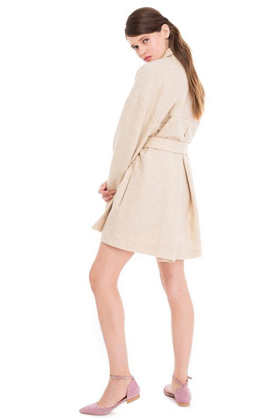 Palton Scurt Supradimensionat din Lana