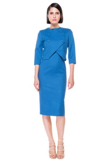 Double Breasted Cropped Wool Blazer Wool Midi dress