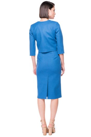 Double Breasted Cropped Wool Blazer Wool Midi dress