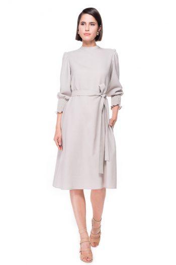 Ruffled Sleeves Wool Dress