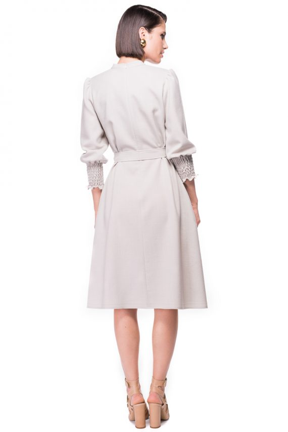 Ruffled Sleeves Wool Dress