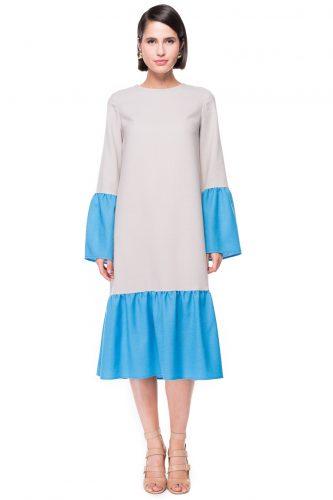 Two Tone Ruffled Wool Dress