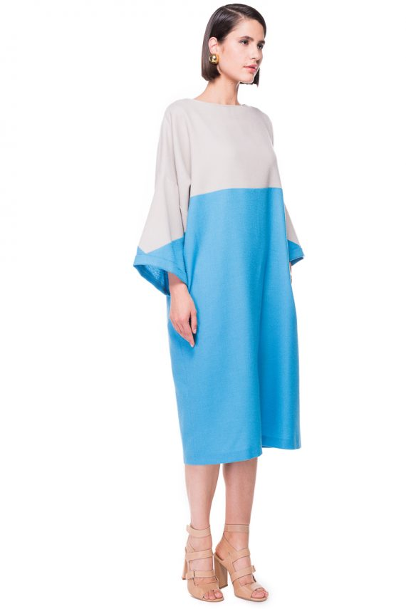 Two Tone Oversized Wool Dress
