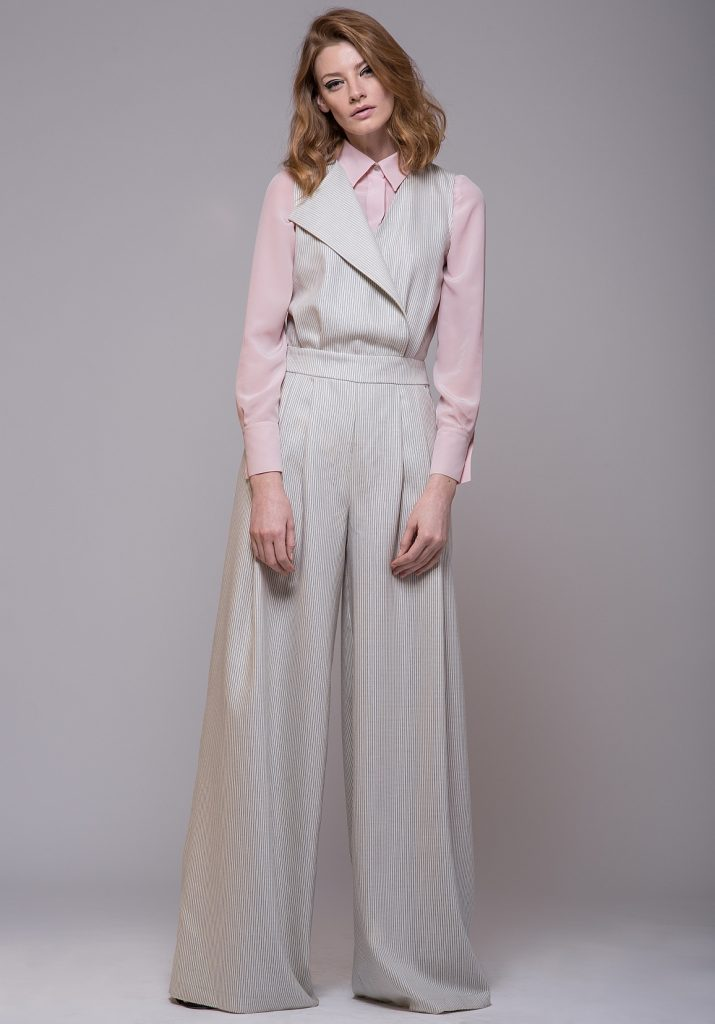 Wrap-Effect Jumpsuit Pink Silk Shirt