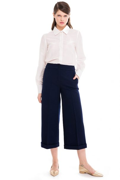 Cropped Wool Wide Leg Pants