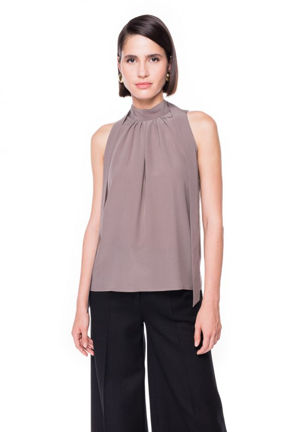 Grey Silk Top