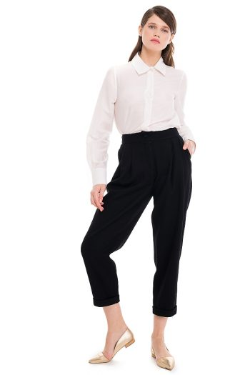Cropped Wool Tapered Pants