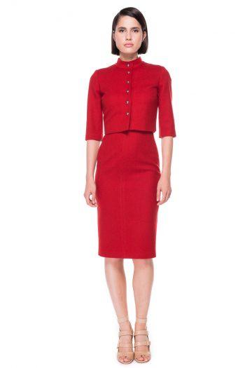 Cropped Wool Blazer Wool Midi Dress