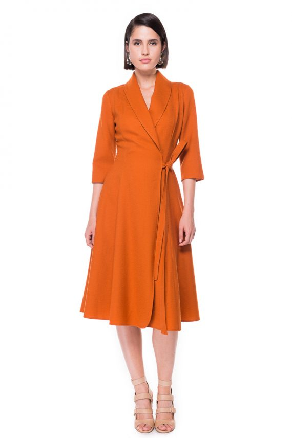 Shawl Lapel Wrap Dress
