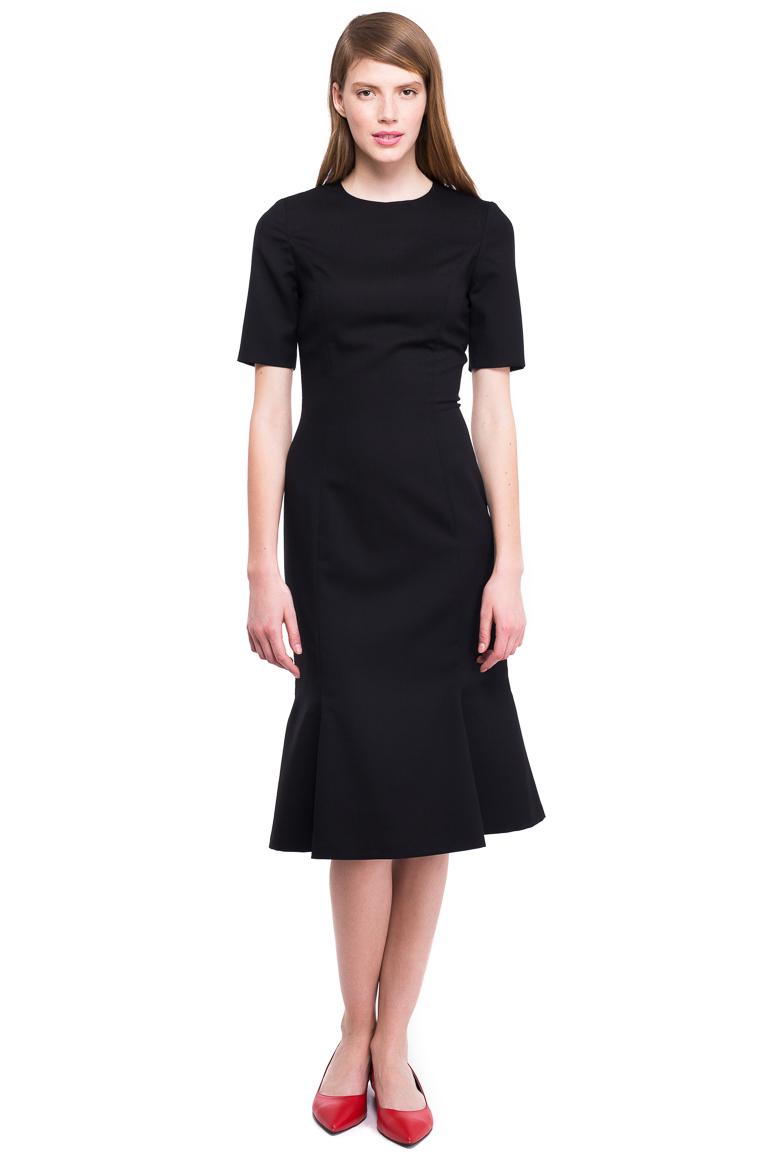 Wool Godet Dress