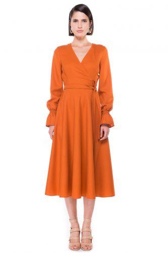 Wrap Effect Midi Dress