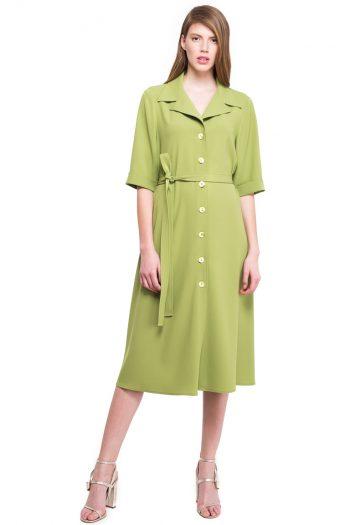 Green Flared Shirt Dress