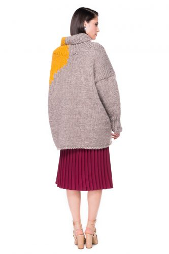 Two Tone Hand Knitted Sweater