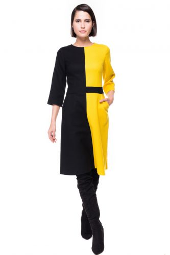 Two Tone A-line Wool Dress