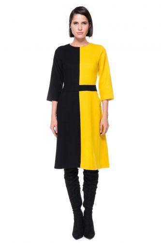 Two Tone A-line Wool Dress