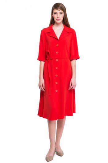 Red Flared Shirt Dress