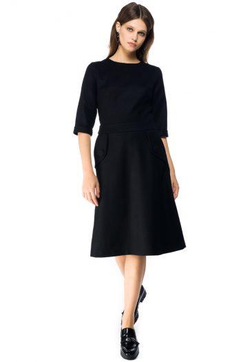 A-line Wool Midi Dress