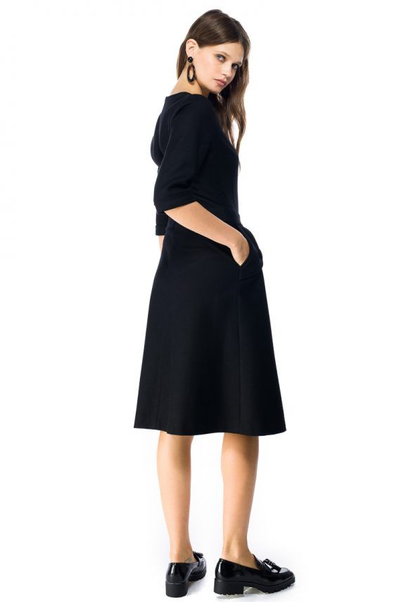 A-line Wool Midi Dress - back