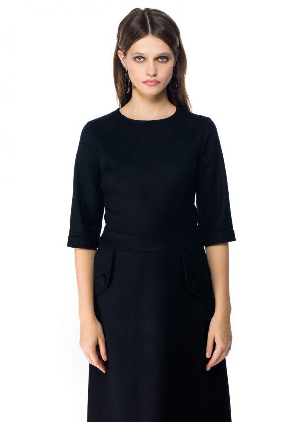 A-line Wool Midi Dress - detail