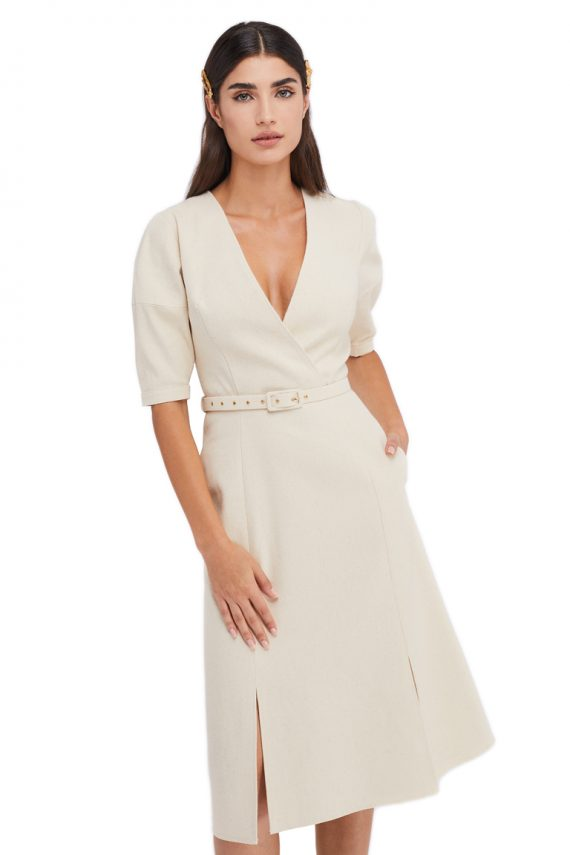 Anais Balloon Sleeve Cotton Dress