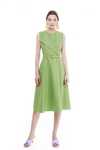 Anita Wrap Effect Cotton Midi Dress