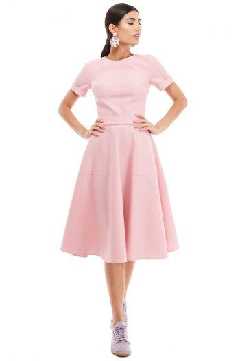 Applied Pockets Cotton Midi Dress