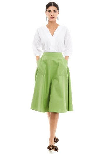 Applied Pockets Cotton Midi Skirt